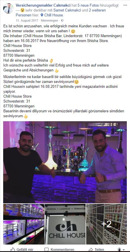 Kundenberatung Samet Cakmakci Sigortaci Sigorta Gewerbe Shisha Bar